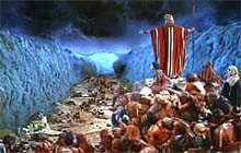 Moses causing the Red Sea to drown the Egyptian chariotry. Image © 1956 Paramount Pictures