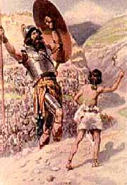 Boastful Goliath about to be slain by YHWH's servant, David