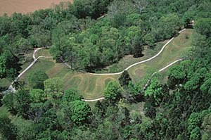Serpent Mound, Adams County, Ohio. Click here for a larger version.