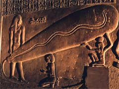 The 'lightbulb' relief at the Temple of Hathor at Dendera, Egypt
