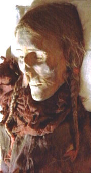 The mummy of a 40-year-old, tall, Caucasian red-headed woman found in the Taklamakan Desert in western China. Image