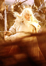 Gandalf the White fighting at The Battle of the Black Gate