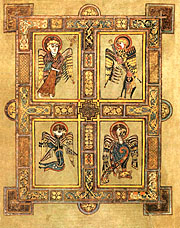 'The Four Evangelists' (folio 27v) from The Book of Kells. Image © Trinity College.